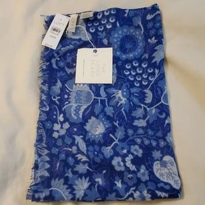 LOFT blue with floral design scarf NEW